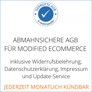 Schutzpaket AGB für modified ecommerce inklusive AGB-Schnittstelle